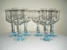 6 Light Blue Diamond Cut Flared Hexagonal Stem Clear Wine Goblets - Cris d'Arque