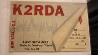 OLD VINTAGE QSL HAM RADIO CARD POSTCARD, EAST SETAUKET NEW YORK, 1959