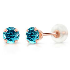 10K Rose Gold Stud Earrings Set with Round Paraiba Topaz from Swarovski