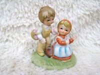 Ceramic Boy and Girl Figurine, Girl Sitting on Log Picking Flowers, Collectible