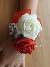 Wedding flowers Ladies wrist corsage red/ivory rose & Gents button hole red rose