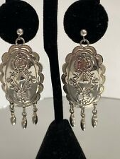 Native American Navajo Sterling Silver Large Concho Drop Earrings