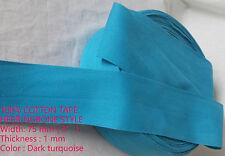 75mm TURQUOISE En épi tissage Bruant coton fixation Bande de sangle x 0,9m