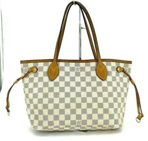 Louis Vuitton Tote Bag Damier Azur Neverfull PM N41362 White From Japan #DY48-73