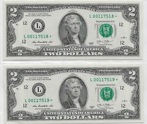 Two Series 2013 $2 Bills; Uncirculated Sequential SF STAR notes; Lot T799ᴙ1