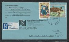 ANGUILLA (P2903B)1985 COVER $1.00 TURTLE WWE+QEII 10C  REG ANGUILLA VALLEY TO US