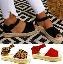 Plataforma de Moda para Mujer Sandalias Planas Playa Vacaciones Verano Damas Cuña Zapatos Talla