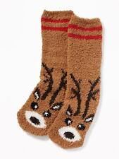 OLD NAVY Printed Cozy Socks For Adults MEN or Women ONE SIZE Brown Red Reindeer
