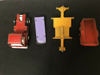 Lot of 4 Tootsie 70's And 60's Toys: Red Truck And Three Different Trailers