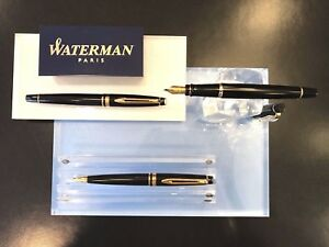 Waterman Expert Lack Black G.C. Füllfederhalter  Kugelschreiber Rollerball