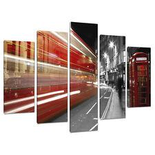 Set di 5 bianco nero rosso stampe su tela foto London Bus Città 5127