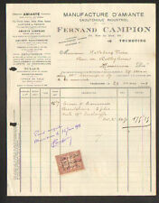 "TOURCOING 59: USINE D'AMIANTE & CAOUTCHOUC ""Fernand CAMPION"" Timbre Fiscal Belge"