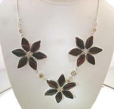 """925 STER Silver Baltic Sea Cherry Amber Flower Citrine Necklace 18.5"""" Adjustable"""