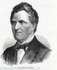 Antique print Pieter de Decker Pierre Premier  portrait 1868