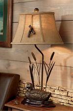 Mallard Duck & Cattails Table Lamp Bird Call Accent Rustic Cabin Lodge Decor