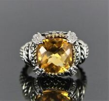 Anillos de joyería de oro amarillo citrino de 18 quilates