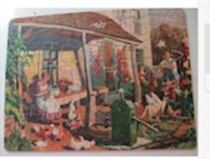 Vintage Jig Time Interlocking Picture Puzzle #A2 Down On The Farm Complete 1940s