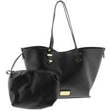 Bebe 4685 Womens Alexis Black Faux Leather Shopper Tote Handbag Purse Large BHFO