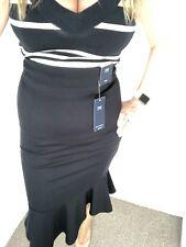 M&S Black Flexifit Peplum Hem Pencil Midi Skirt Size 10