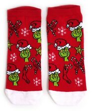 LADIES THE GRINCH FESTIVE RED SHOE LINERS SOCKS UK 4-8 EUR 37-42 USA 6-10