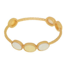 "3/8"" Cream White Faceted Inset Matte Gold Tone Fashion Jewelry Bangle Bracelet"
