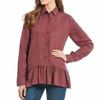 NEW WESTBOUND Point Collar Peplum Tunic Button Down Purple Red Long Sleeve 1X