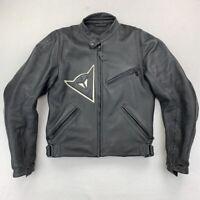 Dainese Mens Biker Motorcycle Jacket Black Leather Elbow Armor Zip Italy 50 40