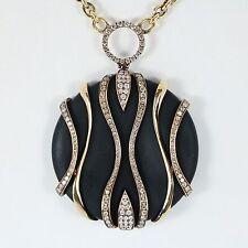 Neiman Marcus BESSA 18k oro giallo con diamante PIETRA NERA Collana con ciondolo