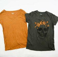 City Street Gray Orange Roses Skull & Merona Rayon Orange T-Shirt lot of 2 Small