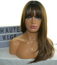 LONG COFFEE BRUNETTE BROWN Wig HAIR Fringe / Bangs STRAIGHT BLONDE LOW LIGHTS