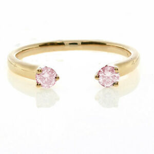Wow Fine 0.26ct Fancy Light Pink Diamonds Engagement Ring 18K Gold All Natural