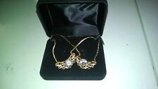 NEW LINDENWOLD 14KT GOLD ELECTROPLATED NECKLACES WITH CZ STONE QTY 2 FOR 1 ~~`