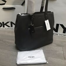 Nuevo Bolso de cuero DKNY Gris Carbón Rrp £ 265 M/L 40cmx30cm * Reducido Ganga Venta *