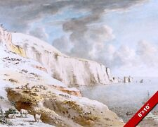 THE WHITE CLIFFS OF DOVER NEEDLES ENGLAND PAINTING ART REAL CANVAS GICLEE PRINT