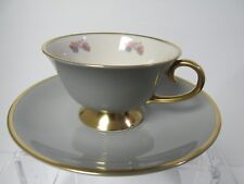 Flintridge Mid Century China Tea Cup & Saucer Made in California USA Gray Gold