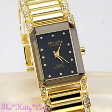 OMAX Gold PL Seiko Movt Bevelled Mineral Dress Watch w/ Swarovski Crystal JES612