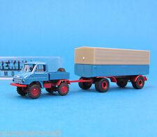 Brekina H0 217313 UNIMOG 411 Zugmaschine mit 2-Achs-Anhänger Blau OVP HO 1:87