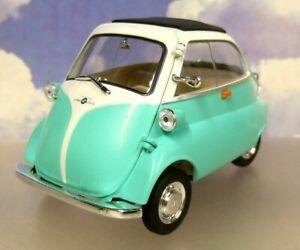 WELLY/NEX 1/18 DIECAST 1955-1962 BMW ISETTA 250 MICROCAR/BUBBLE CAR GREEN/WHITE