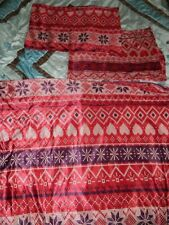 Wilko red knit Christmas themed double duvet cover set 100% polyester * VGC