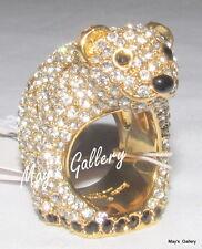 Kate  Spade  Handbag polar bear Rings Band Ring Crystal Gold  NWT KSNY size  6