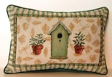 Pfaltzgraff Naturewood Design -Birdhouses & Potted Plants Tapestry Pillow New