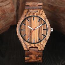 Trendy Full Wooden Bamboo Quartz Wrist Watch Gift for Men Women Fold Clasp Gift