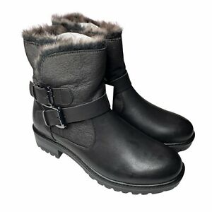 Womens Fashion Boots Black Faux Fur Lined Buckle Straps US 5.5 Faux Leather New