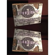 Vintage Letterpress Printing First National Bank Of OR Logo Printers Block Stamp