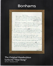 "Bonhams Auction Catalog: The Original Handwritten Lyrics to ""Your Song"" 11/19/18"