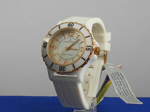Anne Klein Women's White Ceramic Case Silicone Band Watch 10/9418RGWT $150