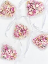 10 Natural Wedding Dried Rose Petal Confetti Organza Bags Biodegradable Flowers