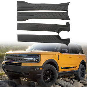 Black Inner Door Sill Scuff Plate 4pcs For Ford Bronco Sport 2021-2022