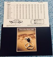 1981 MERCEDES ORIGINAL SALES BROCHURE PROMO + SPEC SHEET OEM SET 380SL 380SEL A+