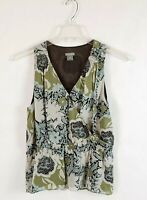 Ann Taylor Petites Women Sleeveless Lined Floral Silk Shell Tank Top Size 12 P